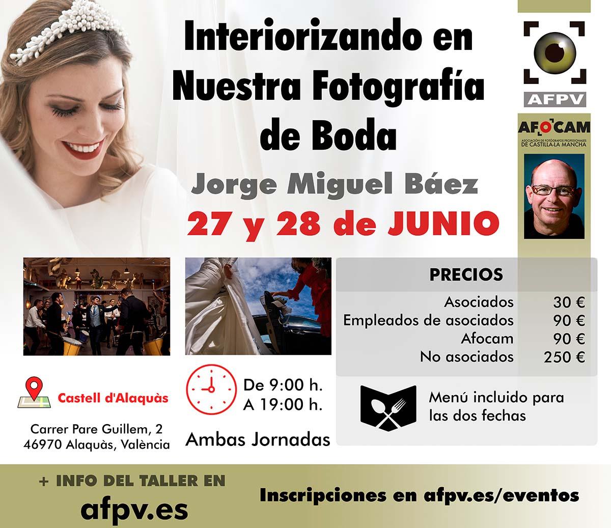 Cartel presentación Taller fotografía de boda Jorge Miguel Báez para AFPV