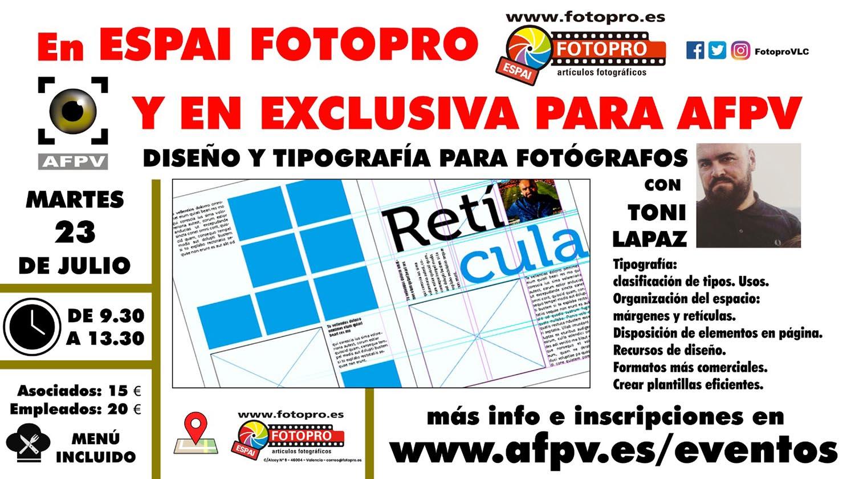 Cartel presentación Taller jornada formativa de diseño y maquetación para fotógrafos en exclusiva para para AFPV