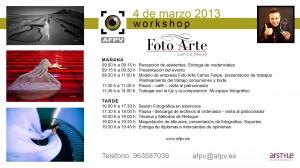 Programa Taller Foto Arte Carlos Felipe para AFPV en Valencia 04-03-2013